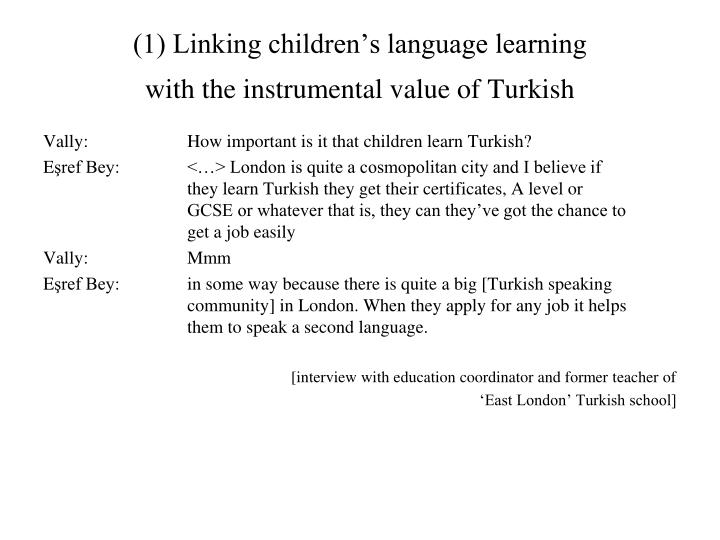 (1) Linking children's language learning