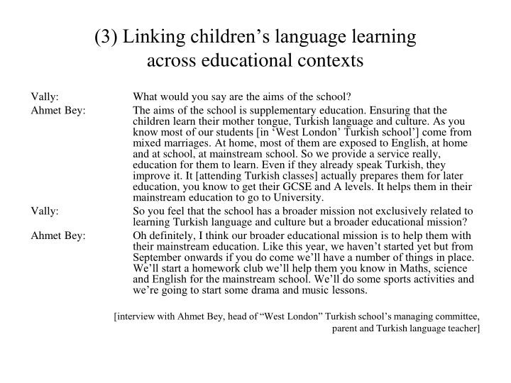 (3) Linking children's language learning