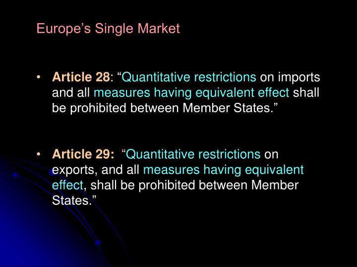 Europe's Single Market