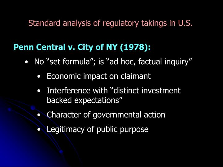 Standard analysis of regulatory takings in U.S.