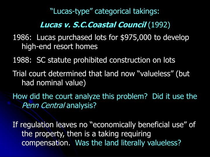 """Lucas-type"" categorical takings:"