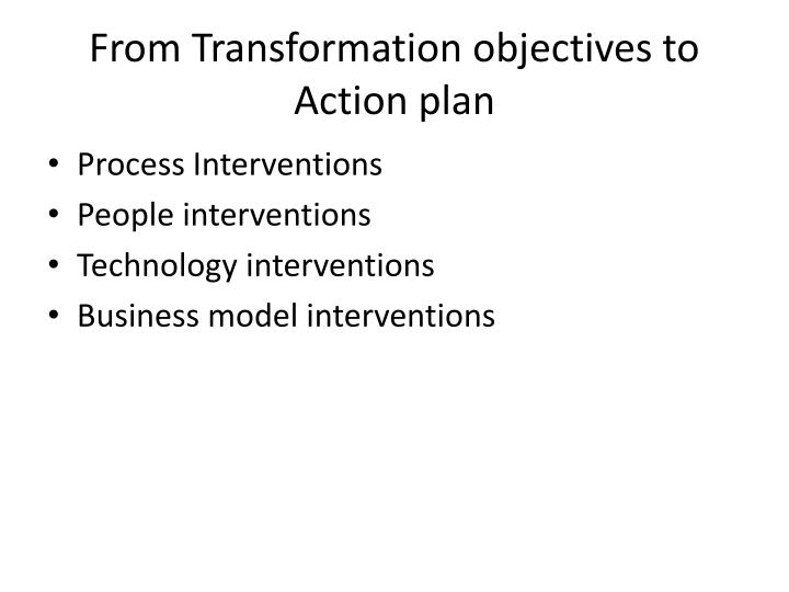 From transformation objectives to action plan
