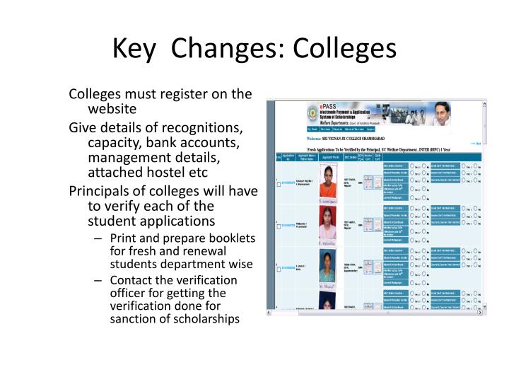 Key  Changes: Colleges