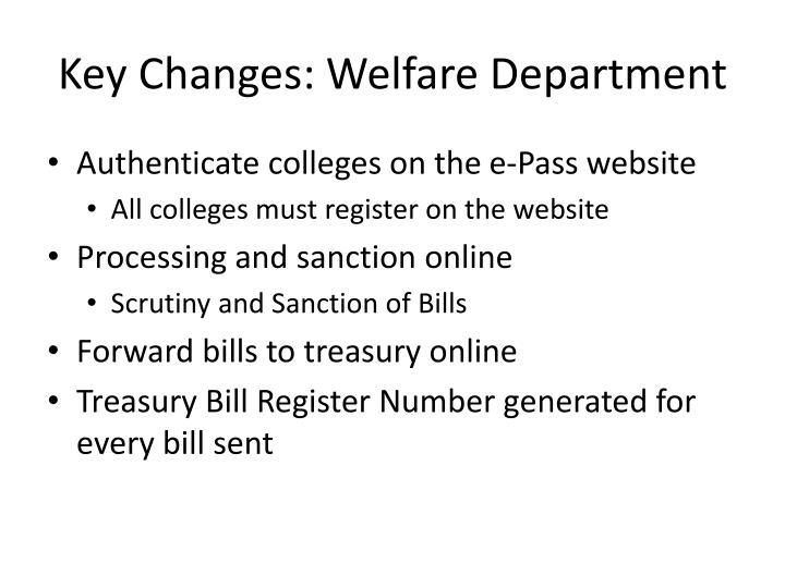 Key Changes: Welfare Department