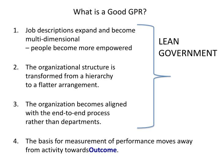 What is a Good GPR?