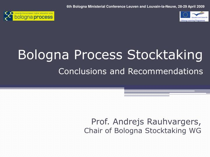 Bologna process stocktaking conclusions and recommendations