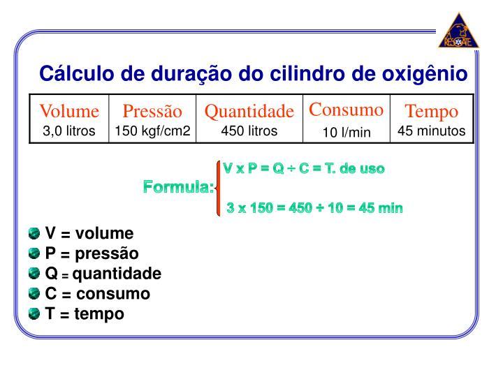 Cálculo de duração do cilindro de oxigênio