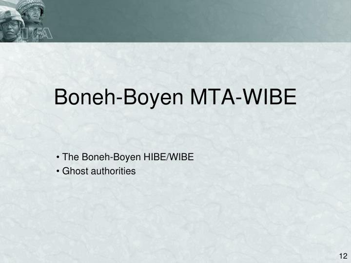 Boneh-Boyen MTA-WIBE