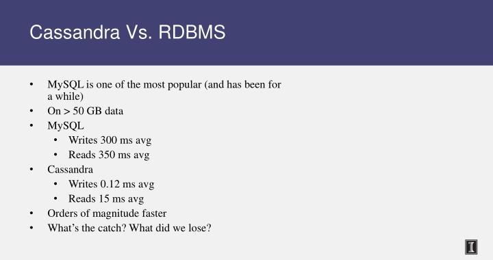 Cassandra Vs. RDBMS