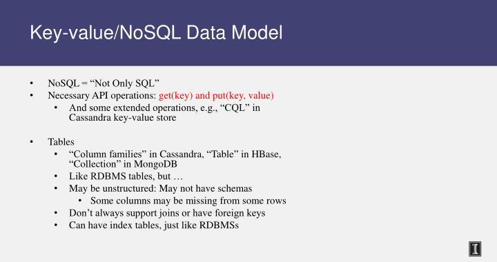 Key-value/NoSQL Data Model