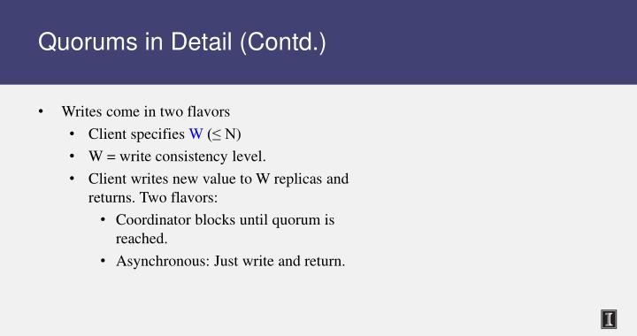 Quorums in Detail (Contd.)