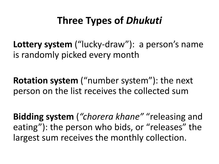 Three types of dhukuti