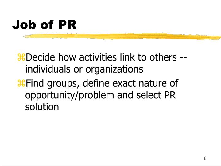 Job of PR