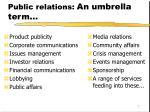 public relations an umbrella term