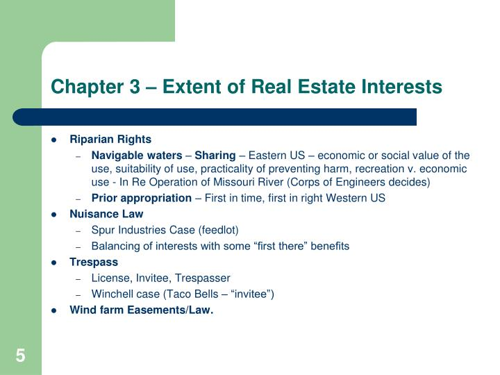 Chapter 3 – Extent of Real Estate Interests