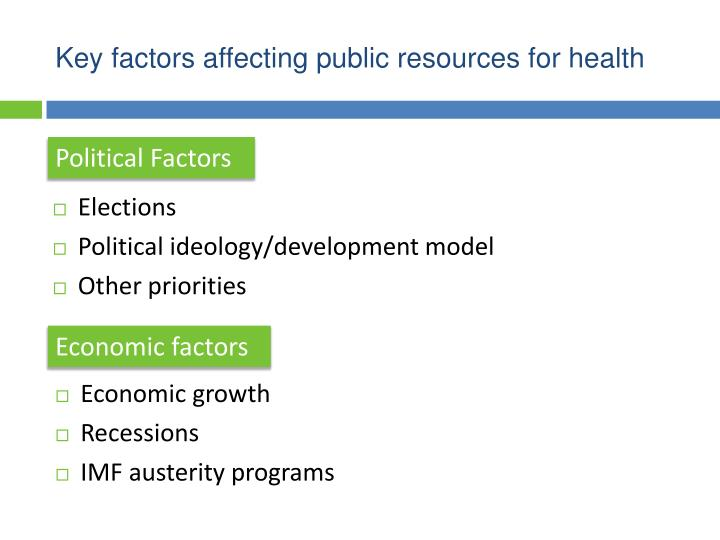Key factors affecting public resources for health