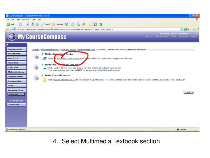 4.  Select Multimedia Textbook section