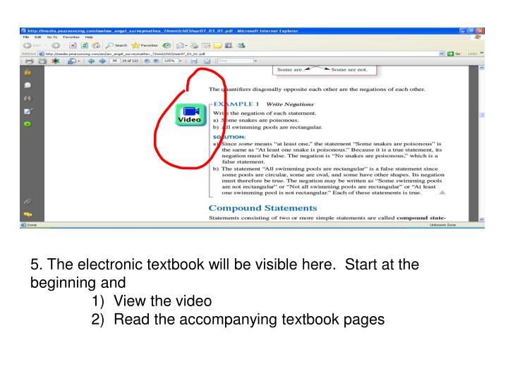 5. The electronic textbook will be visible here.  Start at the beginning and