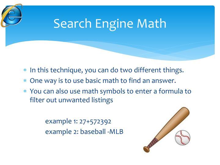 Search Engine Math