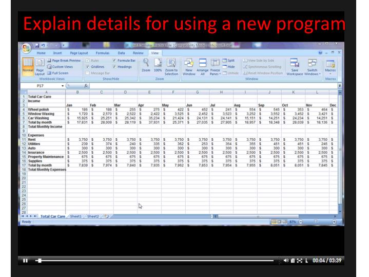 Explain details for using a new program