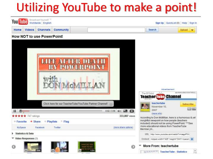 Utilizing YouTube to make a point!