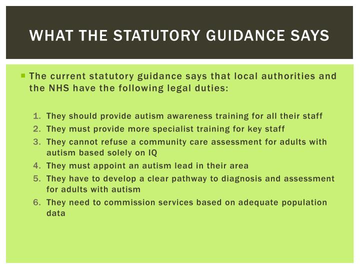 What the statutory guidance says