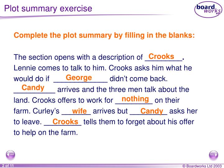 Plot summary exercise