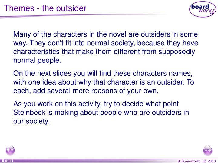 Themes - the outsider