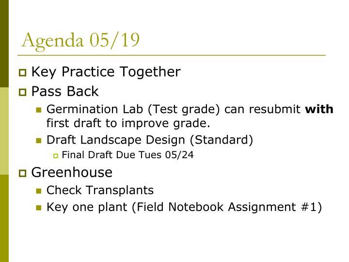 Agenda 05/19