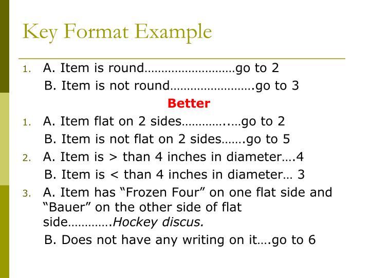 Key Format Example