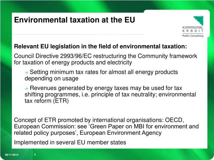Environmental taxation at the eu