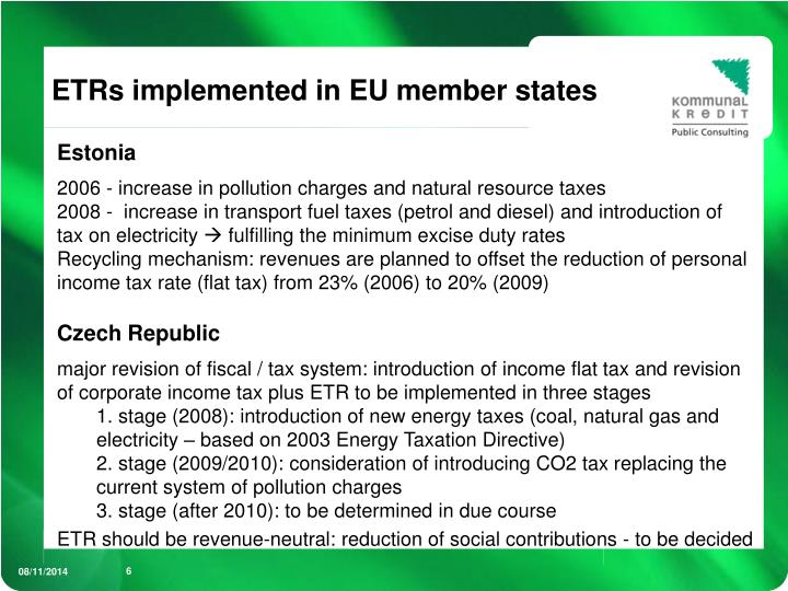 ETRs implemented in EU member states