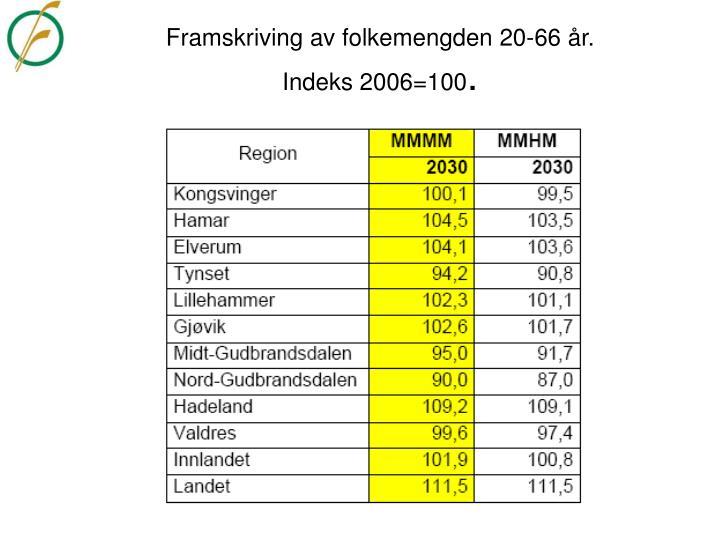 Framskriving av folkemengden 20-66 år.