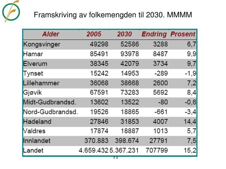 Framskriving av folkemengden til 2030. MMMM