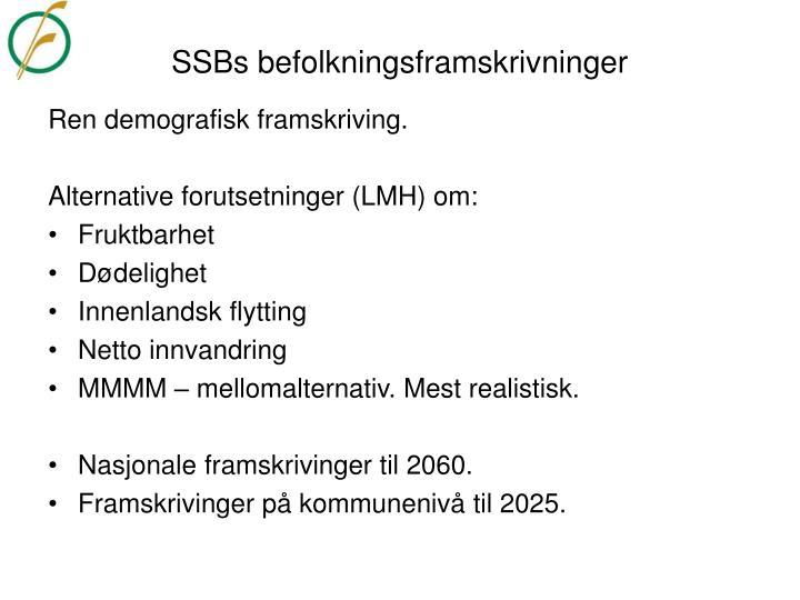 SSBs befolkningsframskrivninger