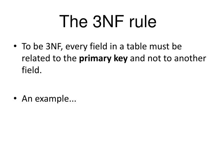 The 3NF rule