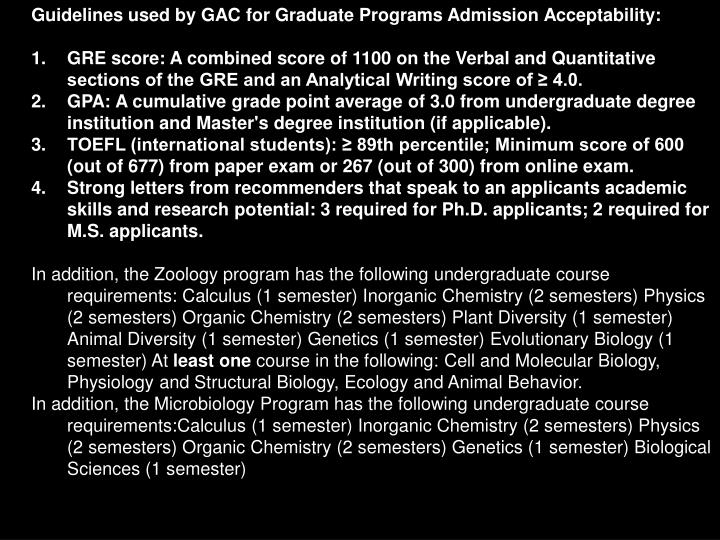 Guidelines used by GAC for Graduate Programs Admission Acceptability:
