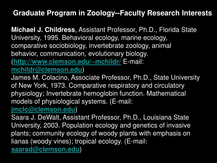Graduate Program in Zoology--Faculty Research Interests