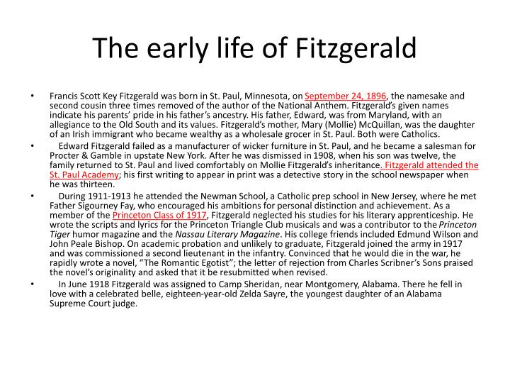 The early life of Fitzgerald