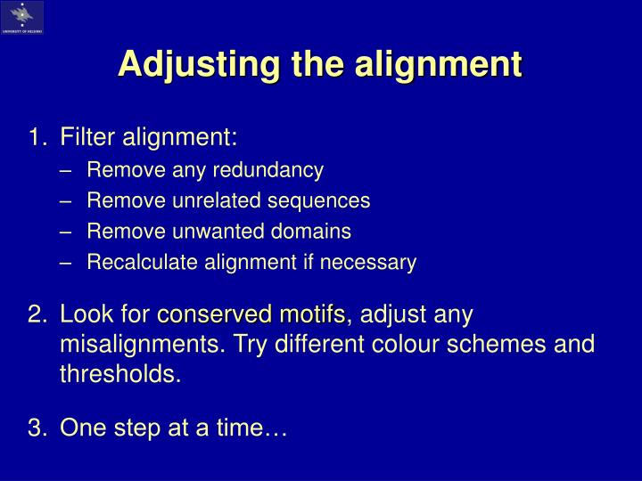 Adjusting the alignment