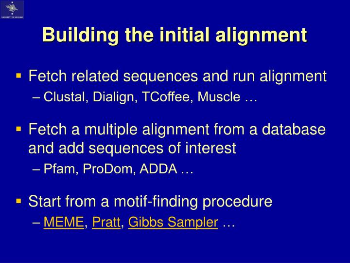 Building the initial alignment