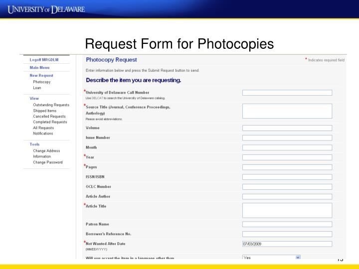 Request Form for Photocopies
