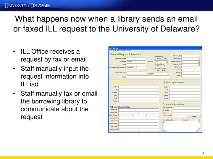 What happens now when a library sends an email or faxed ILL request to the University of Delaware?