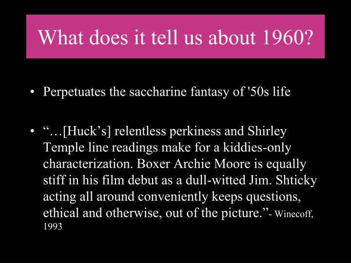 What does it tell us about 1960?
