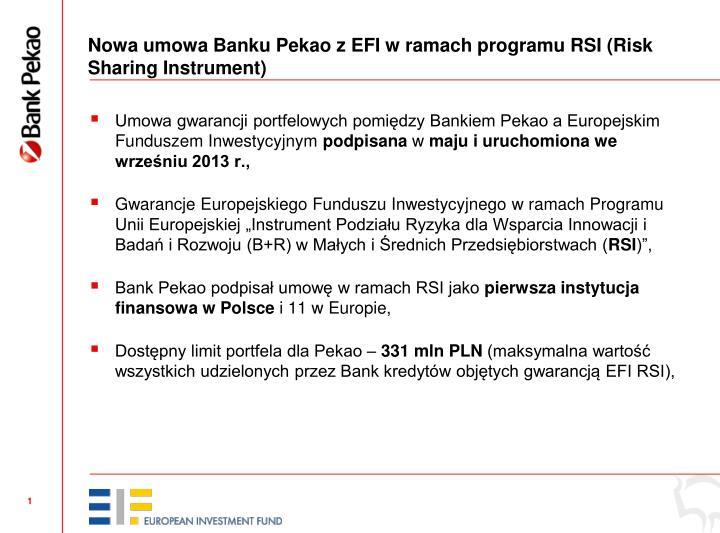Nowa umowa Banku Pekao z EFI w ramach programu RSI (Risk Sharing Instrument)