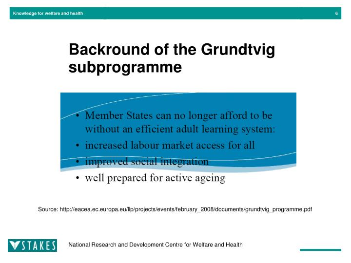 Backround of the Grundtvig subprogramme
