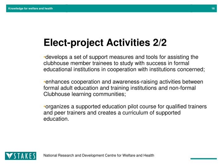 Elect-project Activities 2/2