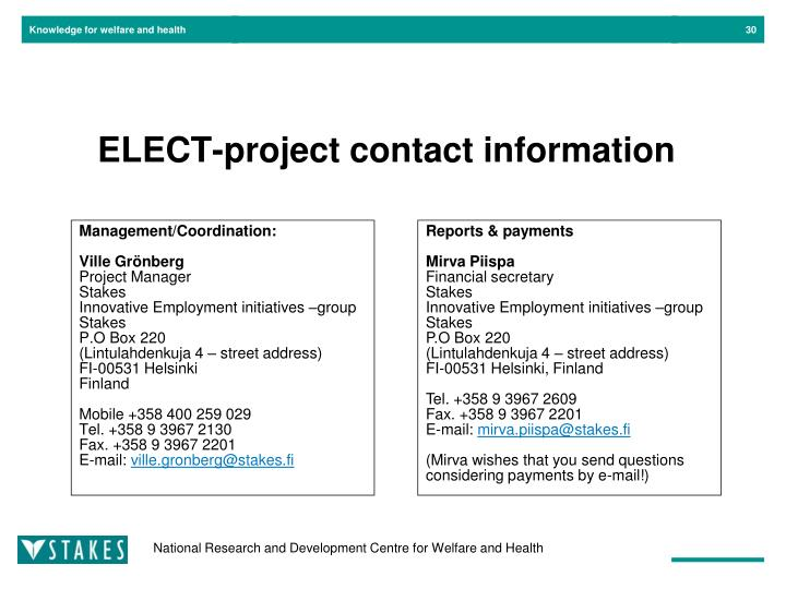 ELECT-project contact information