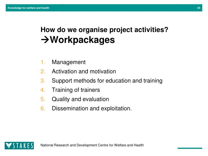 How do we organise project activities?