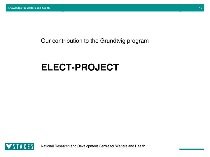 Our contribution to the Grundtvig program